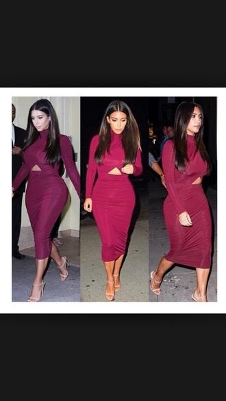 dress open dress red dress kim kardashian dress burgundy dress long sleeve dress turtleneck