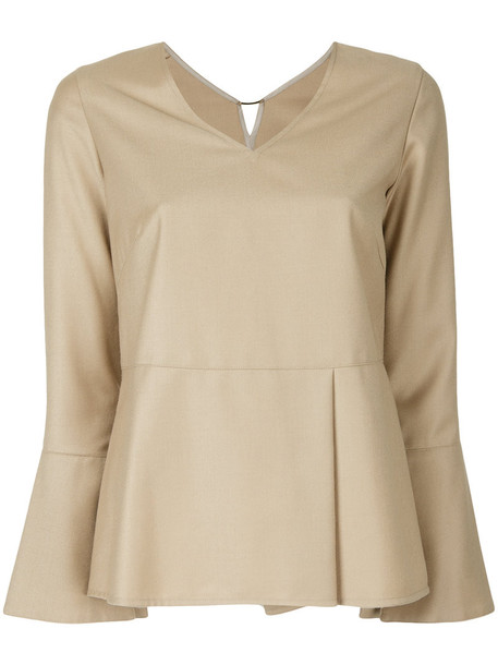 Estnation blouse women wool brown top