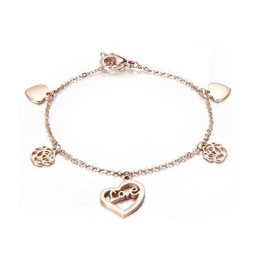 Love & heart rose gold bracelet