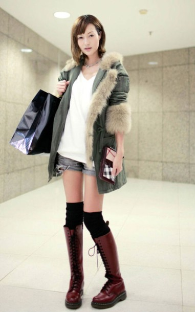 Shoes boots coat bag fashion clothes casual wear knee high socks knee high boots ...