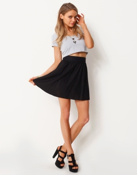 GATHERED WAIST MINI SKIRT - GATHERED WAIST FLARED MINI SKIRT - Skirts