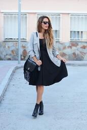 stella wants to die,blogger,bag,midi dress,little black dress,denim shirt,sunglasses,fringed bag
