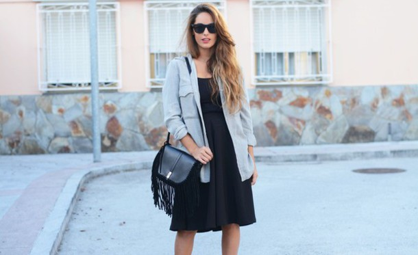 stella wants to die blogger bag midi dress little black dress denim shirt sunglasses fringed bag