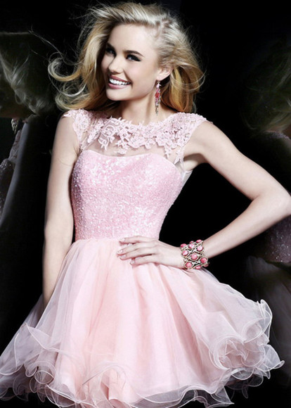 sequins homecoming dress flowy bridesmaid light pink sherri hill