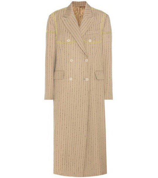 Acne Studios Ayer Pinstriped Wool Coat in beige / beige