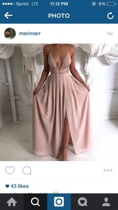 dress,pretty,prom dress,graduation dress,prom gown,prom,pintrest,blush,blush dress,plunge neckline,maxi dress,cream dress,pink,greek goddess,beautiful,long dress,gray or creme,where to get that,where to get that dress,jacket,nude,low cut,leg slit,wrap around