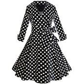 dress,polka dots,a line dress,prom dress,office dress,casual dress,vintage dress,party dress,women dress,half sleeve,tunic,swing,polka dots dress