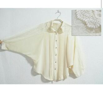 blouse cream chiffon peter pan collar dressy shoes sleeves knitwear