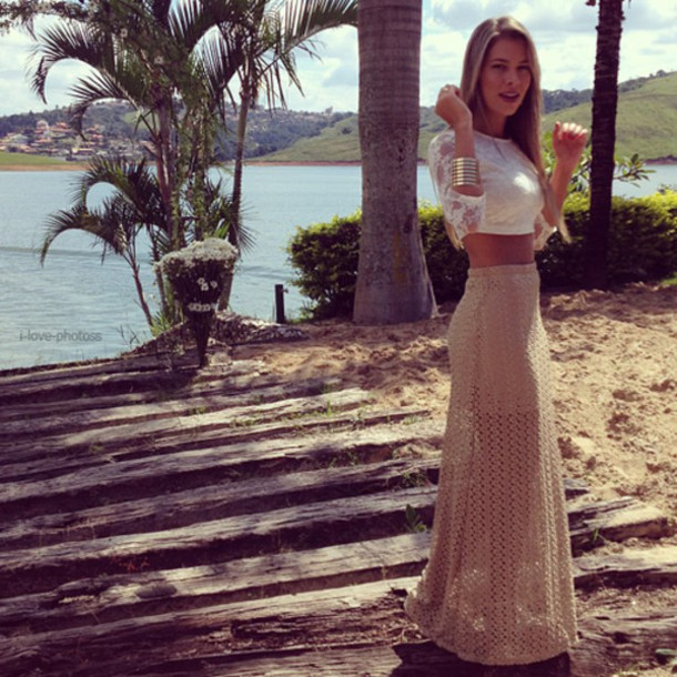 Tan lace maxi skirt – Modern skirts blog for you