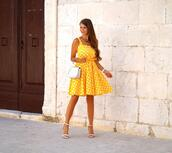 only my fashion style,blogger,dress,bag,shoes,sandals,high heel sandals,yellow dress,summer outfits,summer dress