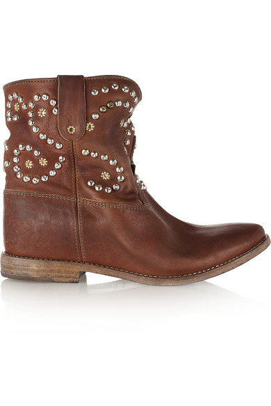 Caleen studded leather concealed wedge boot