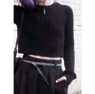 top sweater crop top skirt jewelery grunge pale sweater