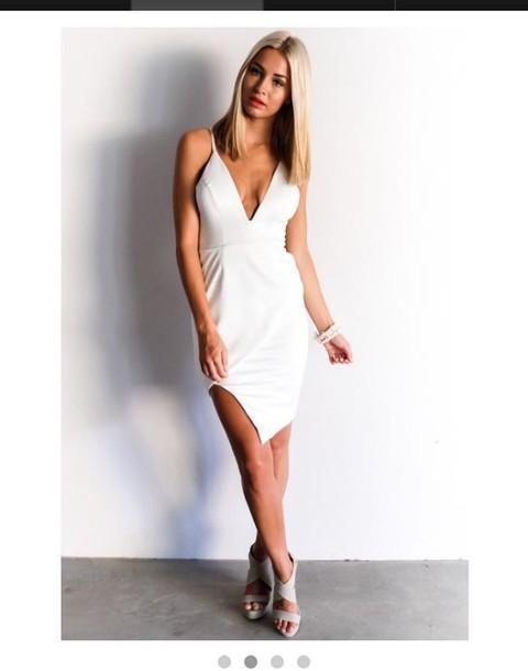 dress cocktail dress white dress plunge dress