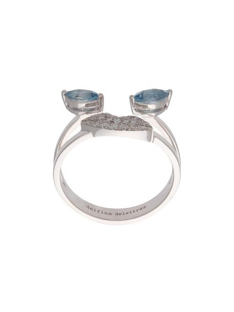 women ring gold white grey metallic jewels