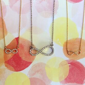 jewels jewel cult jewelry necklace dainty necklace gold silver infinity infinity necklace crystal dainty