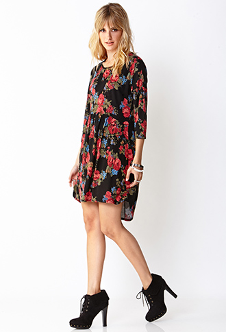 Grunge Rose Smock Dress | FOREVER21 - 2000066602