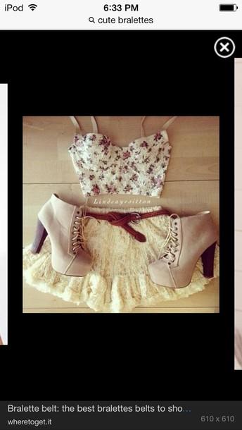 dress bustier crop top bralette floral top nude skirt lace skirt