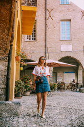angystearoom,blogger,blouse,skirt,sunglasses,bag,denim skirt,crossbody bag,summer outfits