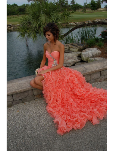 Stunning Orange Ball Gown Sweetheart High-low Asymmetrical Prom Dress on Luulla