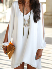plunge v neck,long split sleeve,white shift mini,polyester,street,sexy dress,dress,street goth