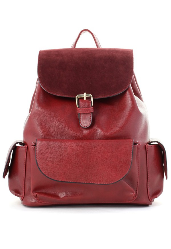 bag chicwish classic wine red flap pockets backpack