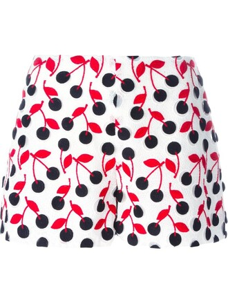shorts cherry embroidered white