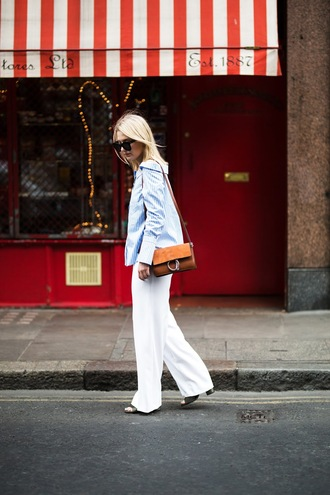 maisie ivy blogger shirt pants bag sunglasses blue shirt white pants spring outfits shoulder bag summer dress