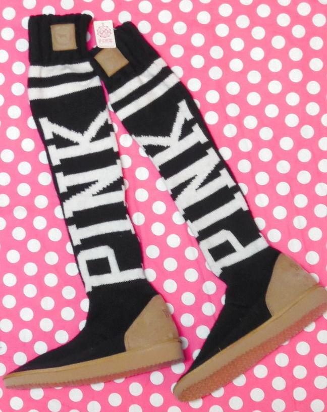 Victoria's secret pink knit *with defect* logo mukluk slipper socks nwt m (7