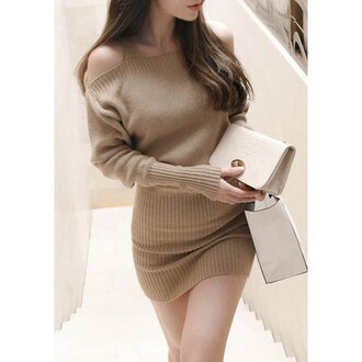 dress sweater rose wholesale off the shoulder beige korean fashion streetstyle purse long sleeve dress sweater dress knitwear classy winter sweater pretty cute dress winter outfits christmas lookbook asian vintage fashion trendy