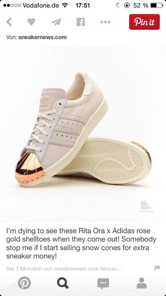 shoes sneakers metal toe adidas superstars adidas adidas originals sneakerhead whitegold
