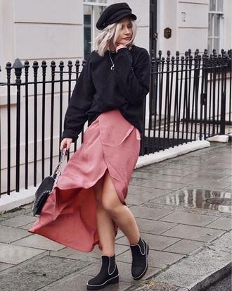 skirt wrap skirt black top black boo fisherman cap asymmetrical asymmetrical skirt pink skirt sweatshirt boots hat