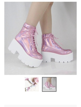 shoes boots grunge pastel pink holographic