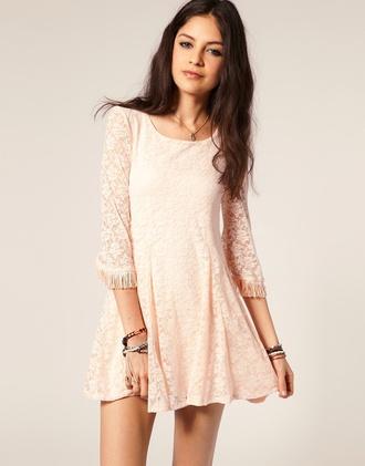 dress light pink lace