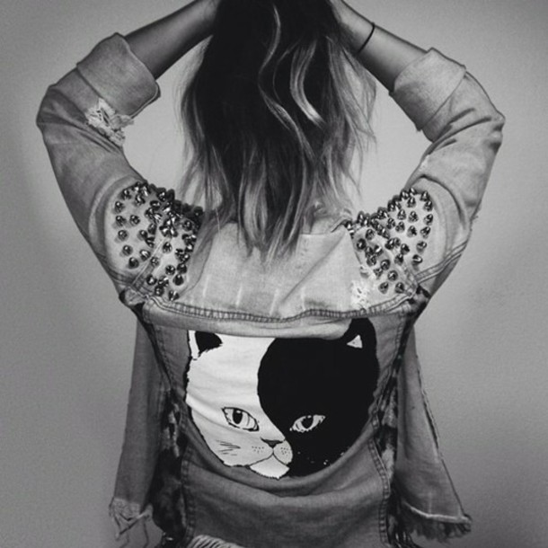 jacket denim jacket girl hair cats yin yang grunge