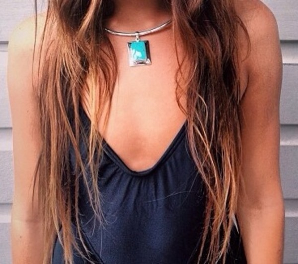 jewels necklace blue turquoise green stone stone necklace stone necklaces silver silver necklace black top black swimwear black one piece
