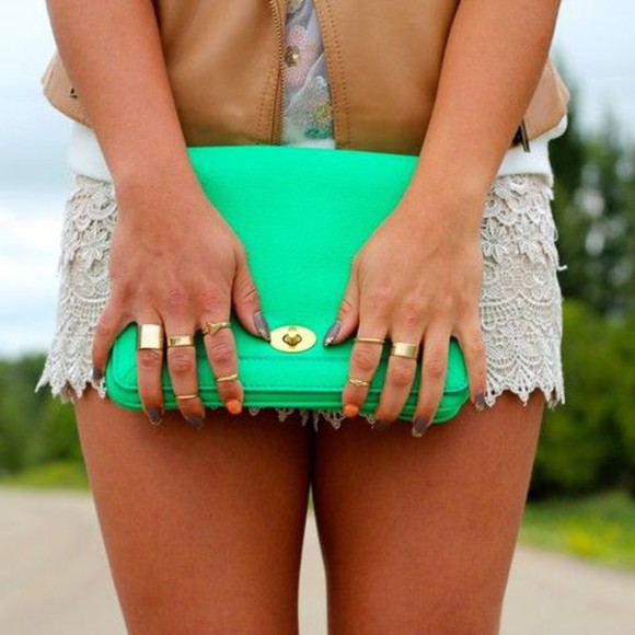 bag clutch mint gold green purse aqua