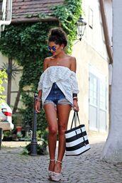 shirt,white,shorts,streetstyle,summer outfits,heels,sunglasses,denim,aviator sunglasses,blue