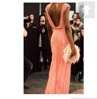 dress bag coral backless vback embellished beaded feathers maxi floor length dress jenny packham