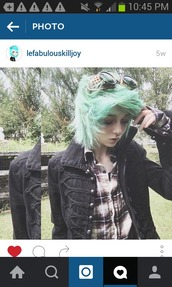jacket,goggles,plaid,button down shirt,steampunk,long sleeves,collar,buttons,hair dye,green hair,blue hair,teal hair,cyan hair,steampunk goggles,marching band jacket,my chemical romance,black parade,brown eyeshadow,nose ring,septum piercing,septum nose rings,flannel shirt,faded,purple faded,brown,purlpe,short hair,instagram,killjoy,emo,grunge