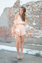 a lonestar state of southern,blogger,romper,shoes,bag,jewels,peach,jumpsuit,jumper,clutch,wedges,summer outfits