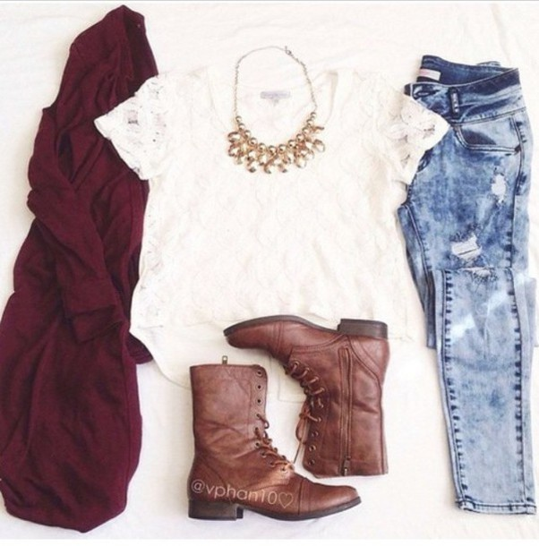jeans blouse cardigan red lipstick