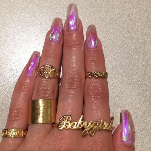 Nail accessories: crystal nails, iridescent, fake nails - Wheretoget