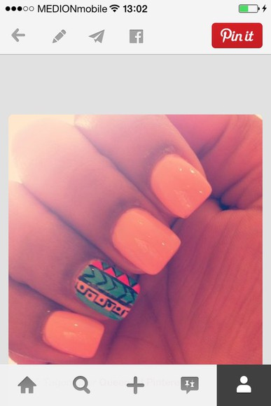 nail polish nail orange tribal pattern pattern