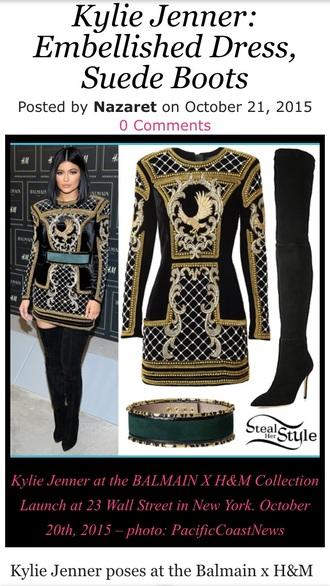 dress black gold balmain brown suade heels