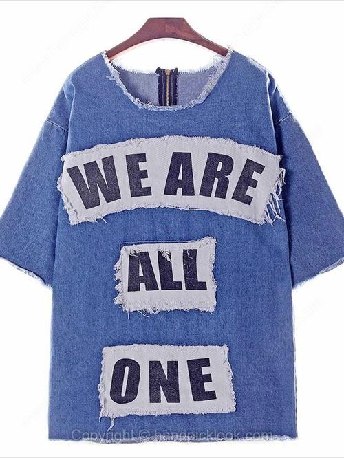 Blue Round Neck Half Sleeve Letter Pattern T-Shirt - HandpickLook.com