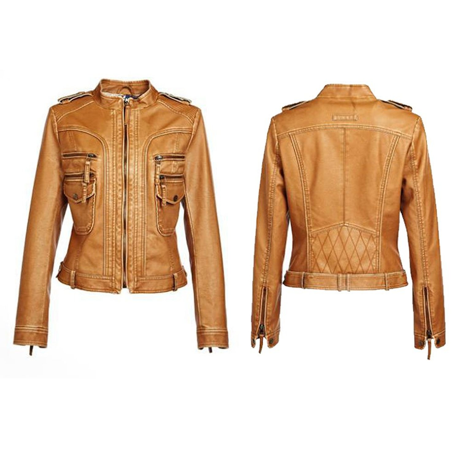 Women's Leather Long Sleeves Zipper Coat Jackets at Amazon Women's Clothing store: