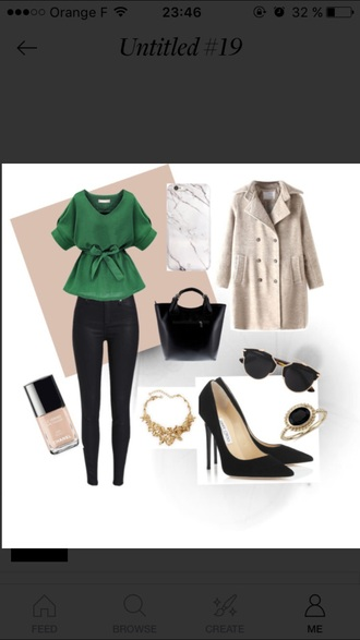 blouse green blouse top fashion classic winter coat high heels black heels outfit idea outfit