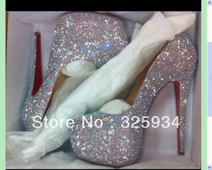 sheepskin colorful rhinestone pumps, red bottom 16cm daffodil strass, diamond high heels, women crystal wedding shoes-in Pumps from Shoes on Aliexpress.com