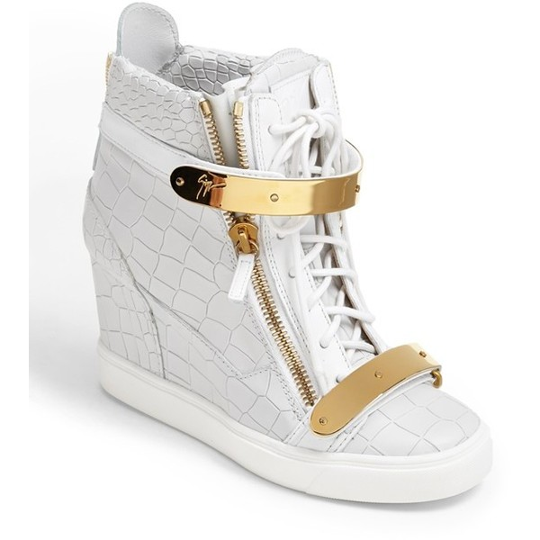 Giuseppe Zanotti 'Lorenz' High Top Wedge Sneaker Womens Whit... - Polyvore