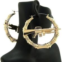 Womens Celebrity Machine Gun Hollow Bamboo Pincatch Hoop Earrings